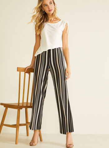 Striped Print Gaucho Pants, Black,  pants, pull-on, modern fit, wide leg, striped, jersey, spring summer 2020