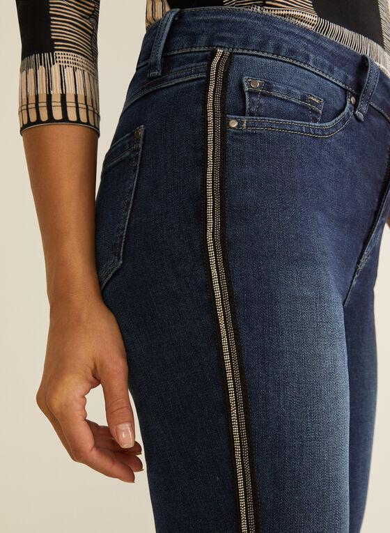 Jeans à jambe étroite et bandes ornementées, Bleu