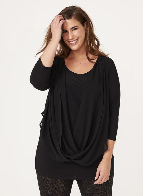 3/4 Sleeve Drape Effect Top , Black, hi-res