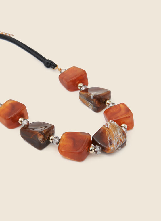 Geometric Lucite Necklace , Brown