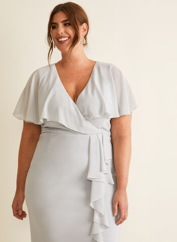 Joseph Ribkoff - Ruffle Sleeve Dress, Grey,  dress, cocktail, ruffle, chiffon, jersey, v-neck, crossover, spring summer 2020