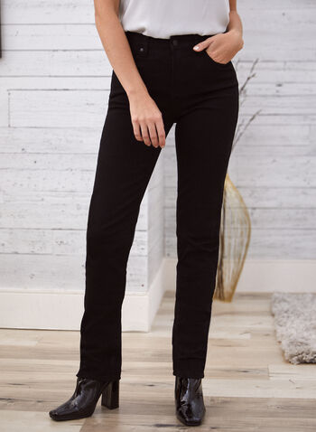 Slim Leg Jeans, Black,  fall 2021, jeans, denim, pants, Lois, slim leg, stretch, made in Canada, mid rise, slim leg, 5 pockets, belt loops, classic jeans
