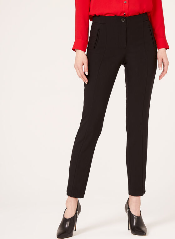 Modern Fit Slim Leg Ankle Pants, Black, hi-res