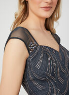 Illusion Back Glitter Dress, Grey, hi-res