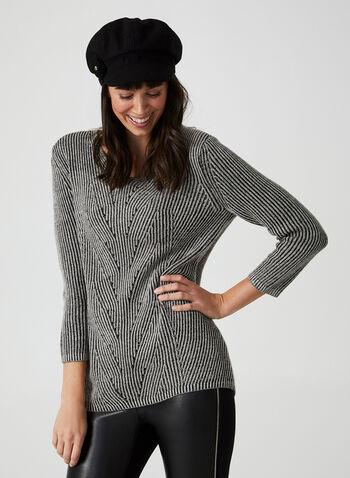 V-neck Rib Sweater, Grey, hi-res,  sweater, knit, rib sweater, cotton sweater, acrylic sweater, fall 2019, winter 2019
