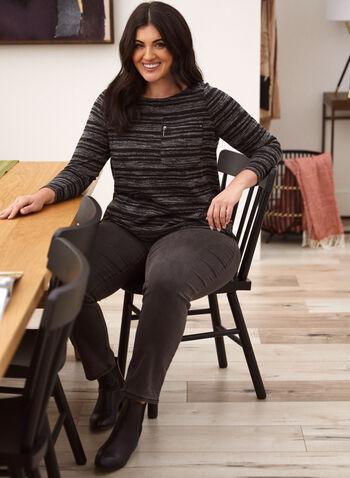 Haut en tricot chiné à rayures, Gris,  haut, pull, fait au canada, encolure arrondie, manches longues, poche, fermeture éclair, motif rayures, automne hiver 2021, tricot chiné