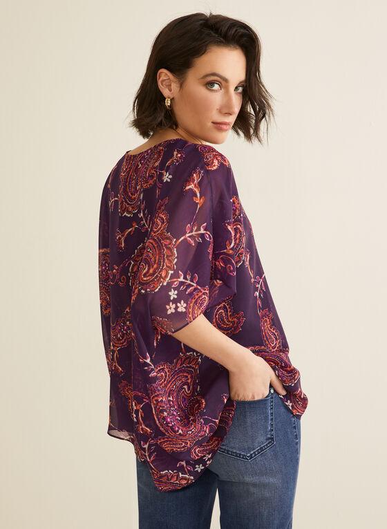 Paisley Print Poncho Blouse, Purple