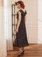Polka Dot Faux Wrap Dress, Black