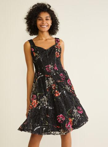 Robe en dentelle fleurie et col cœur, Noir,  robe de jour, col cœur, sans manches, fleurs, automne hiver 2020