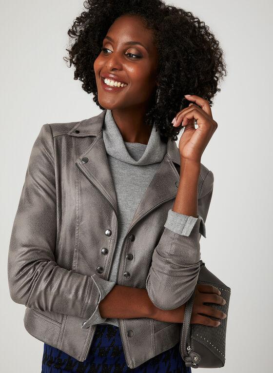 Faux Crackled Leather Jacket, Grey