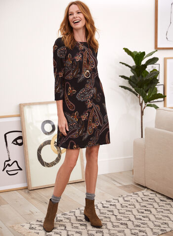 Paisley Print Trapeze Dress, Black,  fall 2021, dress, trapeze, day dress, short dress, paisley, print, pattern, motif, autumn, 3/4 sleeves, made in Canada, boat neckline, pockets, knit, comfy
