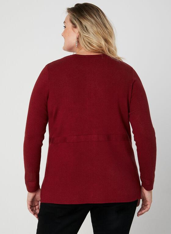 Cardigan en tricot à boutons décoratifs, Rouge