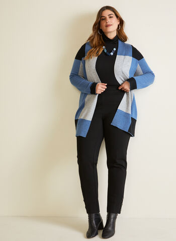 Colour Block Mid Length Cardigan, Blue,  cardigan, colour block, open front, knit, long sleeves, mid-length, fall winter 2020