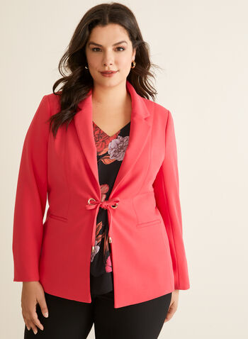 Tie Detail Jacket, Red,  Spring summer 2020, crepe, fully lined, notch collar
