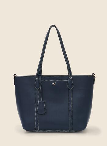Sac fourre-tout zippé en similicuir, Bleu,  sac à main, fourre-tout, cabas, similicuir, zip, printemps été 2020