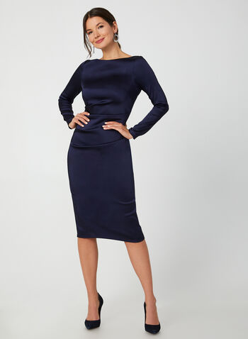 Satin Sheath Dress, Blue,  dress, cocktail dress, long sleeves, sheath, satin, ruching, V-back, boat neck, fall 2019, winter 2019