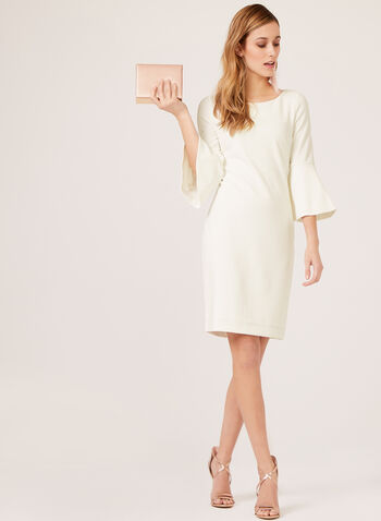 Jessica Howard - 3/4 Bell Sleeve Crepe Pencil Dress, Off White, hi-res