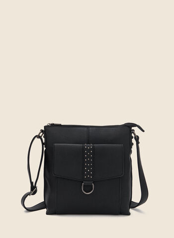 Stud Detail Crossbody Bag, Black,  handbag, adjustable, shoulder strap, flap pocket, studs, zipper, fall winter 2020