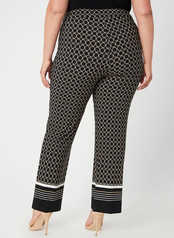 Pantalon large à motif géométrique, Noir
