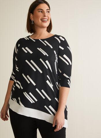 Haut asymétrique à motif géométrique, Noir,  blouse, haut, jersey, texturé, géométrique, col bateau, manches 3/4, printemps été 2020