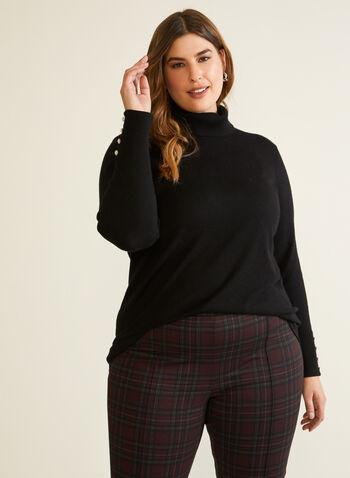 Pull col roulé à détails boutons, Noir,  automne hiver 2020, pull, manches longues, col roulé, boutons, ample, tricot, chandail