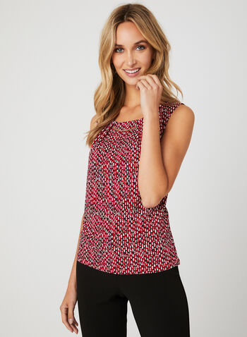 Abstract Print Sleeveless Blouse, Red, hi-res
