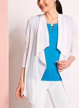 Cardigan manches 3/4 en tricot , Blanc, hi-res
