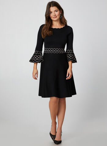 3/4 Bell Sleeve Knit Dress, Black,  fit and flare, dress, knit, scallops, 3/4 sleeves, geometric detail, fall 2019, winter 2019