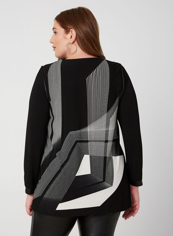Geometric Print Tunic Top, Black, hi-res