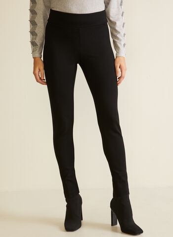 Bow Detail Slim Leg Pants, Black,  pull-on, pants, slim leg, rhinestone, bow, ponte di roma, fall winter 2020