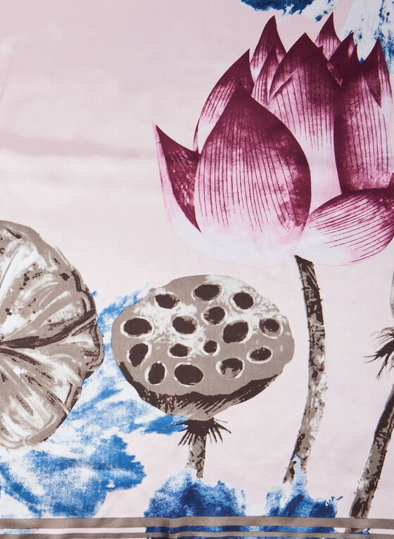 Foulard carré motif floral, Rose