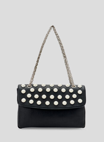 Pearl Detail Chain Strap Bag, Black, hi-res