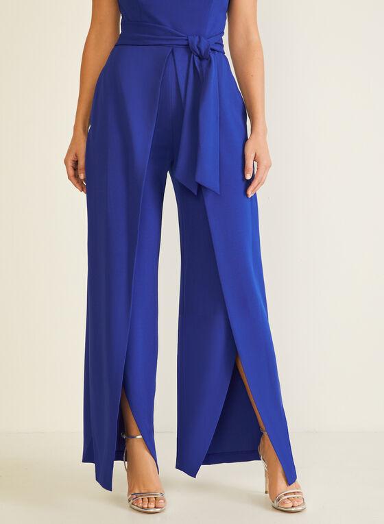 Slit Wide Leg Jumpsuit, Blue