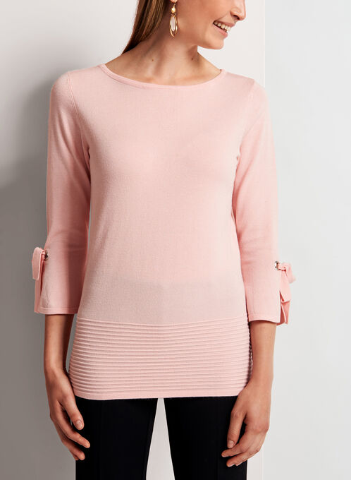 Ottoman Hem Bell Sleeve Sweater , Pink, hi-res