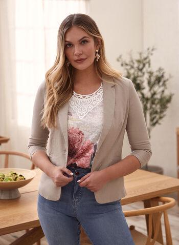 Linen Blend Gathered Sleeve Jacket, Beige,  jacket, notch collar, gathered sleeves, 3/4 sleeves, single button, linen, spring summer 2021