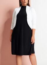 Boléro tricot plissé et manches 3/4, Blanc, hi-res