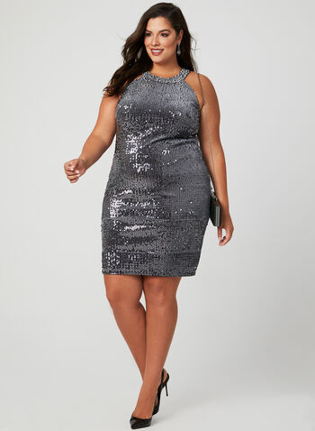 Sequin Velvet Dress, Grey, hi-res