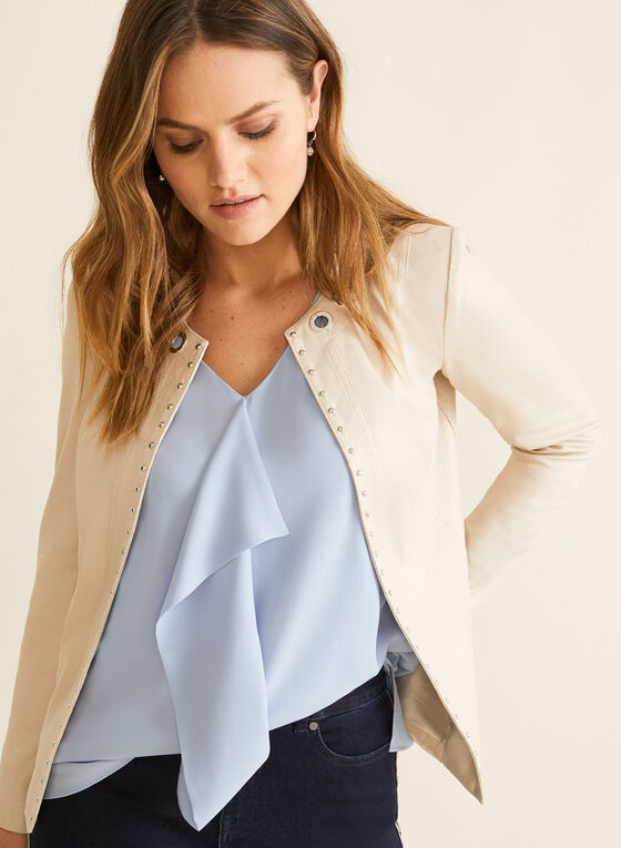 Faux Suede Open Front Jacket, Off White