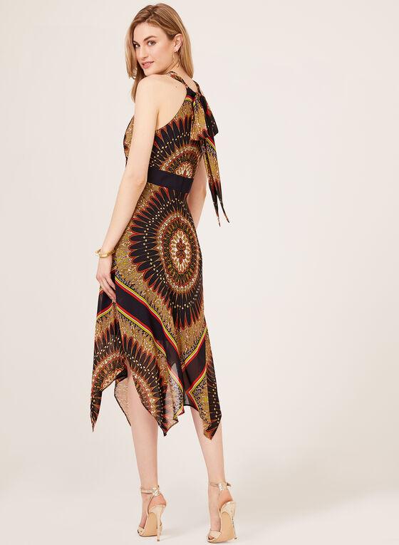 Robe col licou à motif aztèque, Brun, hi-res