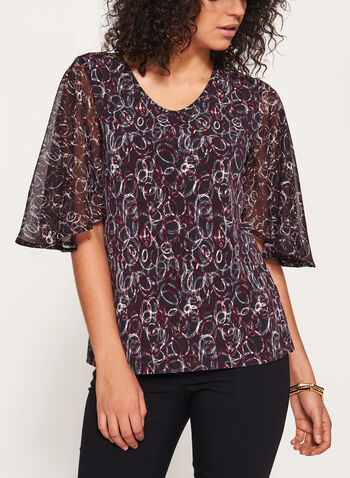 ¾ Drape Sleeve Blouse, Black, hi-res