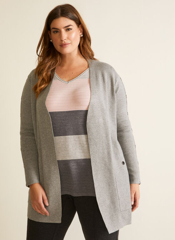 Button Detail Mid Length Cardigan, Grey