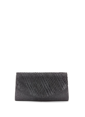 Pleated Metallic Clutch, , hi-res