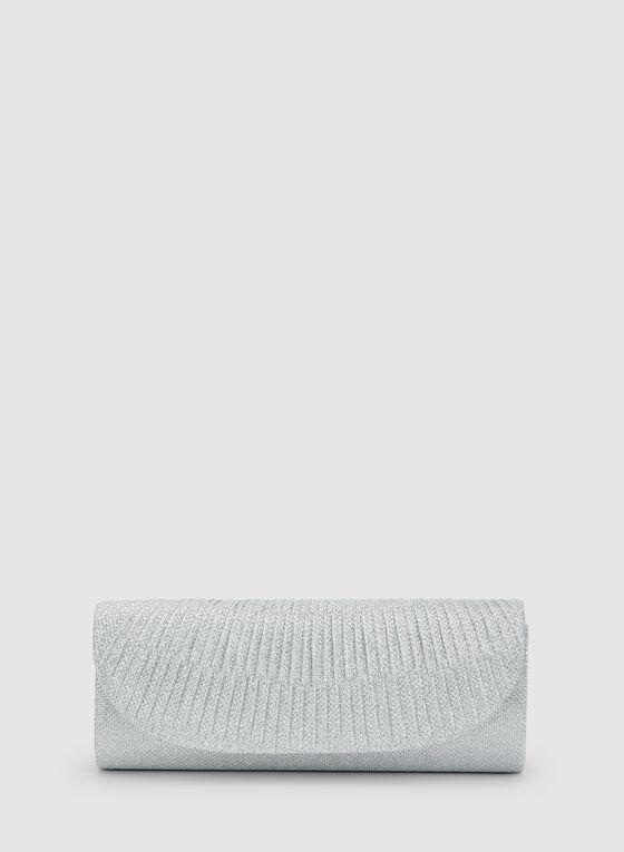 Pochette texturée scintillante, Argent, hi-res