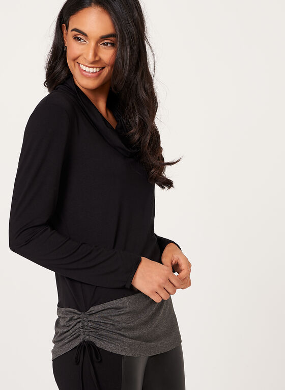 Long Sleeve Contrast Hem Sweater, Black, hi-res