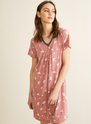 Claudel Lingerie - V-Neck Pleated Effect Nightshirt, Red,  nightshirt, sleepwear, print, v-neck, short sleeves, stretchy, pleated, spring summer 2020