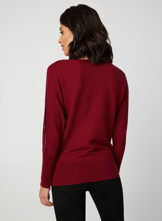 Pull en tricot côtelé et manches ajourées, Rouge