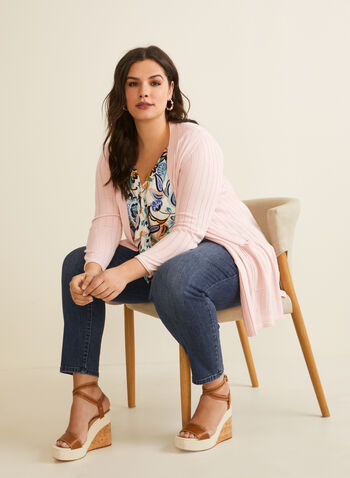 Open Cardigan With Patch Pockets, Pink,  cardigan, long sleeves, knit, open front, pockets, spring summer 2020