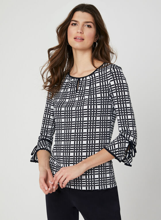 Abstract Print Tie Detail Blouse, White, hi-res