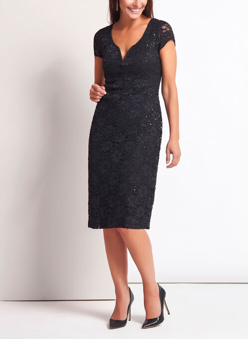 Sequin Lace Midi Dress, Black, hi-res