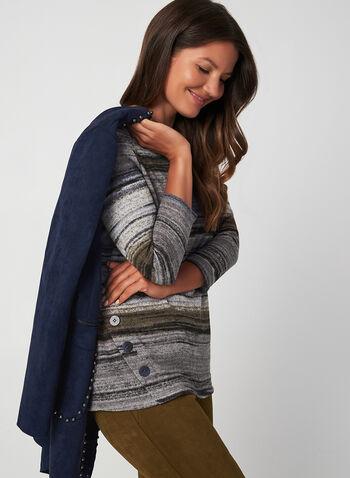 Stripe Print Sweater, Grey, hi-res,  fall winter 2019, knit, 3/4 sleeves, scoop neck, stripe print